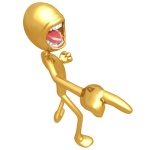 """NEGATORS. """"Gold Guy Yelling And Pointing Directions"""" © Scott Maxwell / Fotolia #15452348."""